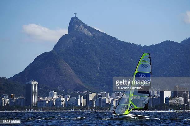 Peter Burling of New Zealand and Blair Tuke of New Zealand compete in the Men's 49er race on Day 8 of the Rio 2016 Olympic Games at the Marina da...