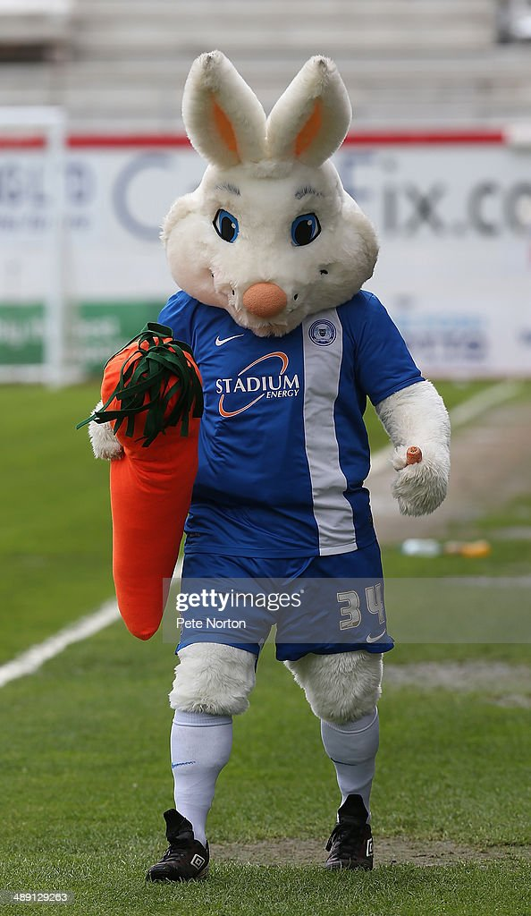 Peter Burrow the Peterborough United mascot entertains the crowd prior to the Sky Bet League One Semi Final First Leg between Peterborough United and Leyton Orient at London Road Stadium on May 10, 2014 in Peterborough, England.