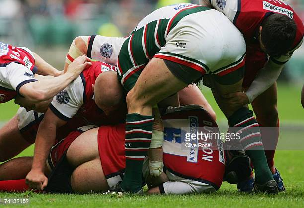 Peter Buxton of Gloucester loses his shorts at a ruck during the Guinness Premiership final between Gloucester and Leicester Tigers at Twickenham on...