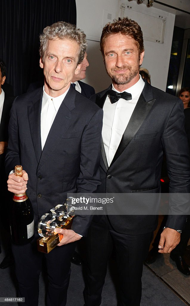 <a gi-track='captionPersonalityLinkClicked' href=/galleries/search?phrase=Peter+Capaldi&family=editorial&specificpeople=639349 ng-click='$event.stopPropagation()'>Peter Capaldi</a> (L) and Gerard Butler attend an after party following the GQ Men Of The Year awards in association with Hugo Boss at The Royal Opera House on September 2, 2014 in London, England.