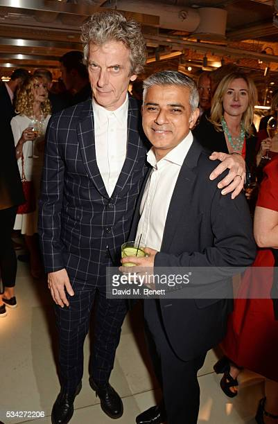 Peter Capaldi and Mayor of London Sadiq Khan attend the London Evening Standard Londoner's Diary 100th Birthday Party in partnership with Harvey...