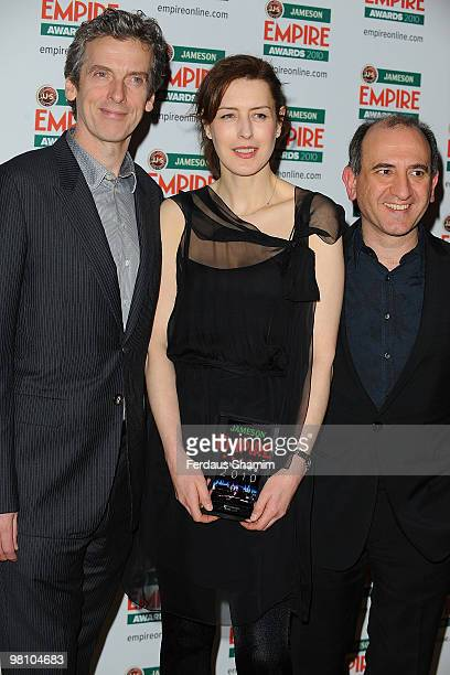 Peter Capaldi Gina McKee and Armando Ianucci attend the Jameson Empire Film Awards at The Grosvenor House Hotel on March 28 2010 in London England