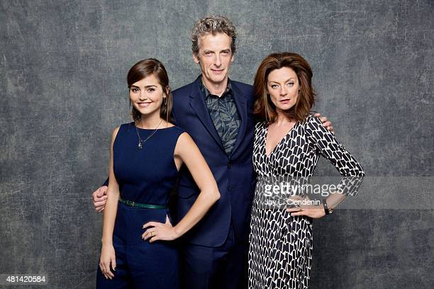Peter Capaldi Jenna Coleman and Michelle Gomez of 'Doctor Who' pose for a portrait at ComicCon International 2015 for Los Angeles Times on July 9...