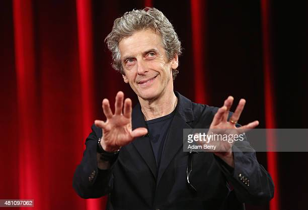 Peter Capaldi of the British television series Dr Who speaks at the Apple Store on July 17 2015 in Berlin Germany The show is expected to return for...