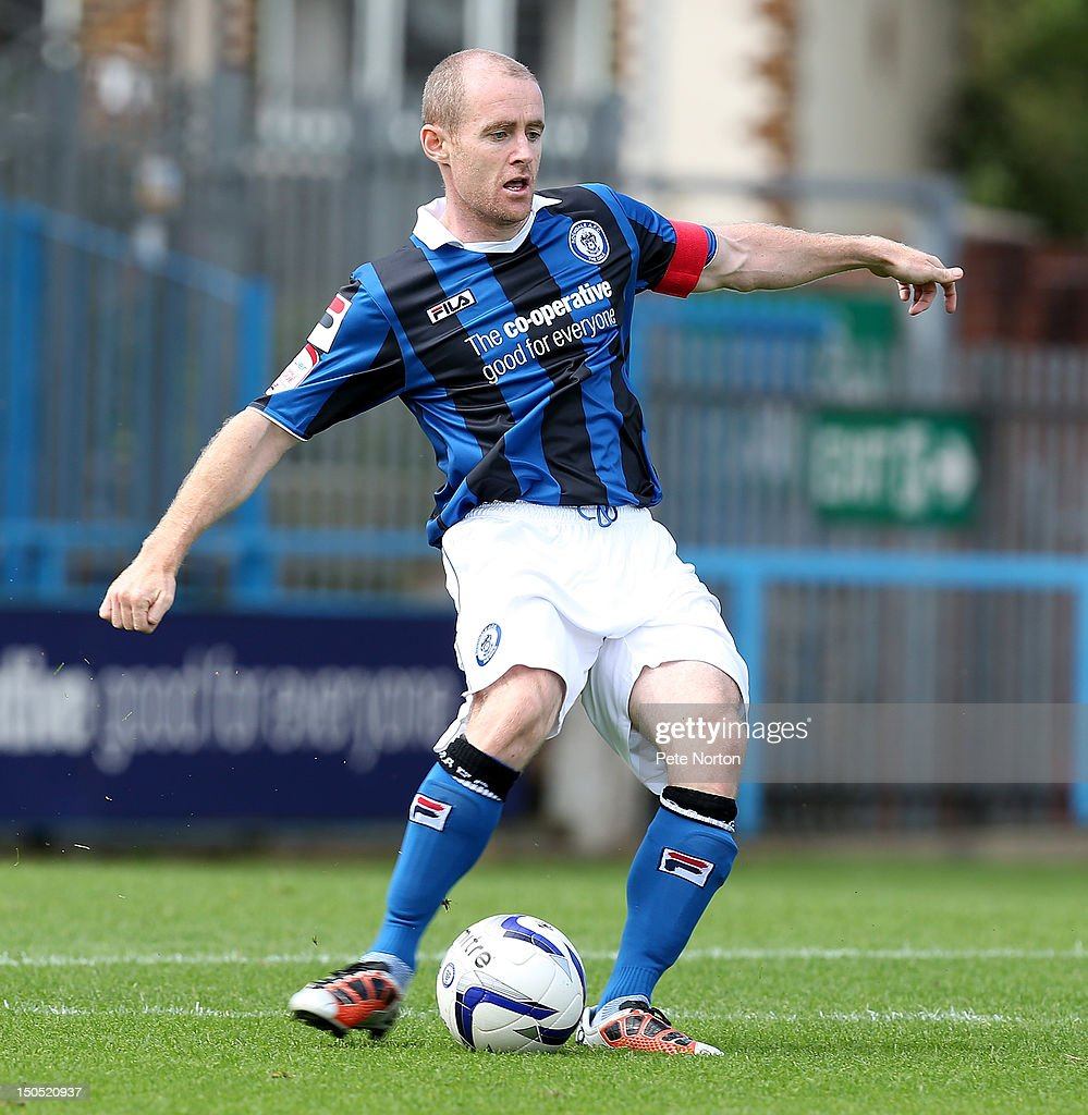 Peter Cavanagh of Rochdale in action during the npower League Two match between Rochdale and Northampton Town at Spotland Stadium on August 18, 2012 in Rochdale, England.