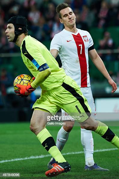Peter Cech and Arkadiusz Milik during the International friendly match between Poland and Czech Republic on November 17 2015 at the Wroclaw Stadium...