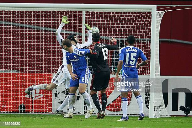 Peter Cech of Chelsea gets the second goal of Manuel Friedrich of Leverkusen during the UEFA Champions League group E match between Bayer 04...