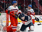 Peter Cehlarik of Team Slovakia celebrates his goal in a quarterfinal round during the 2015 IIHF World Junior Hockey Championships against Team Czech...