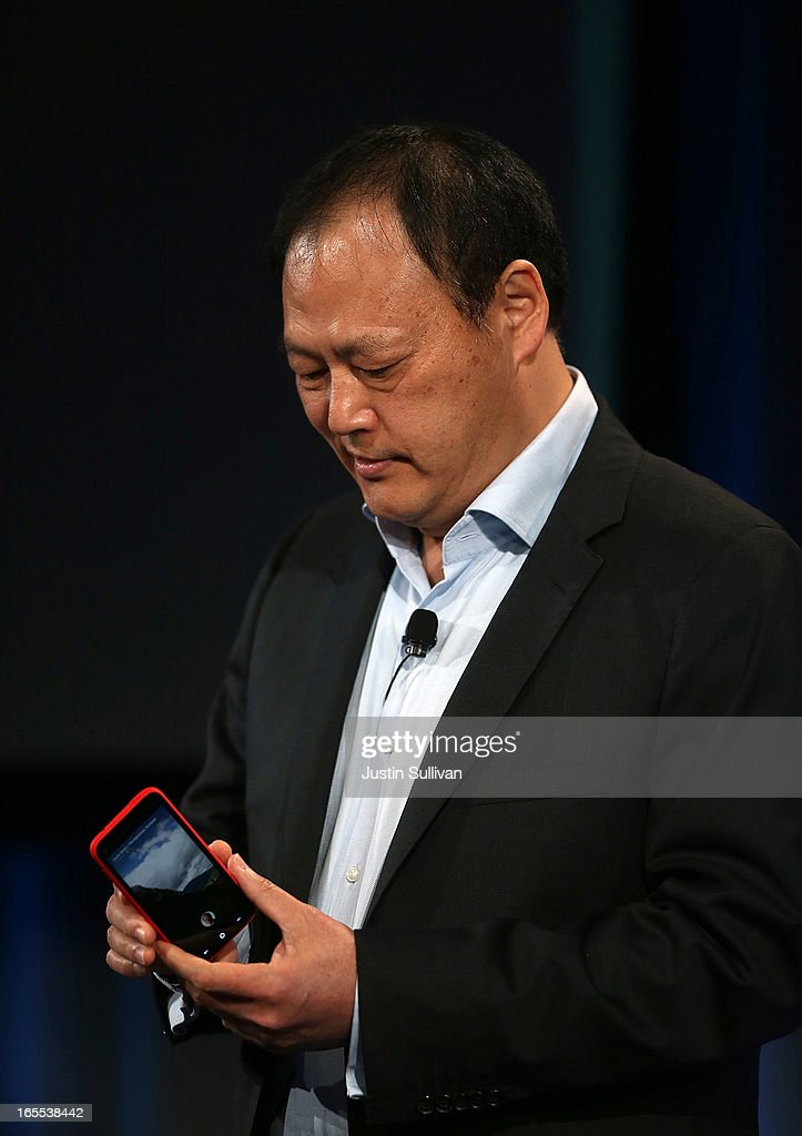 Peter Chou holds the new HTC First phone during an event at Facebook headquarters during an event at Facebook headquarters on April 4, 2013 in Menlo Park, California. Facebook CEO Mark Zuckerberg announced a new product for Android called Facebook Home as well as the new HTC First phone that will feature the new software.