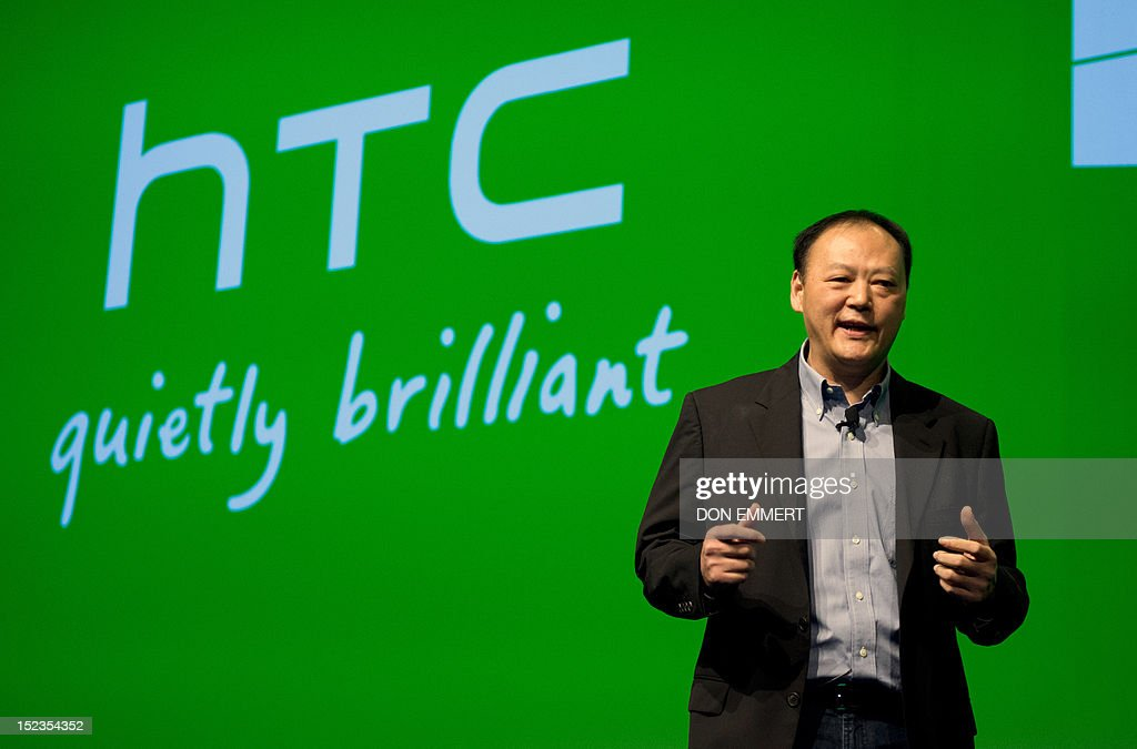 Peter Chou introduces the new HTC 8S and 8X at a news conference September 19, 2012 in New York. Microsoft CEO Steve Ballmer joined Chou on stage as the two introduced the new phones. AFP PHOTO/DON EMMERT