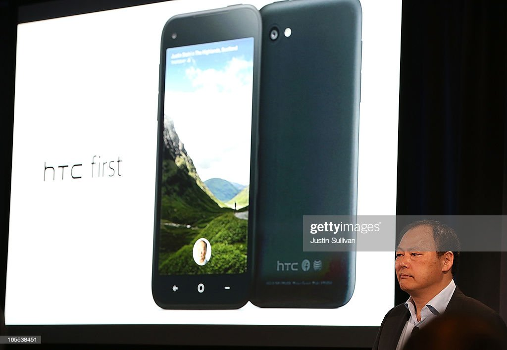 Peter Chou presents the new HTC First phone during an event at Facebook headquarters during an event at Facebook headquarters on April 4, 2013 in Menlo Park, California. Facebook CEO Mark Zuckerberg announced a new product for Android called Facebook Home as well as the new HTC First phone that will feature the new software.
