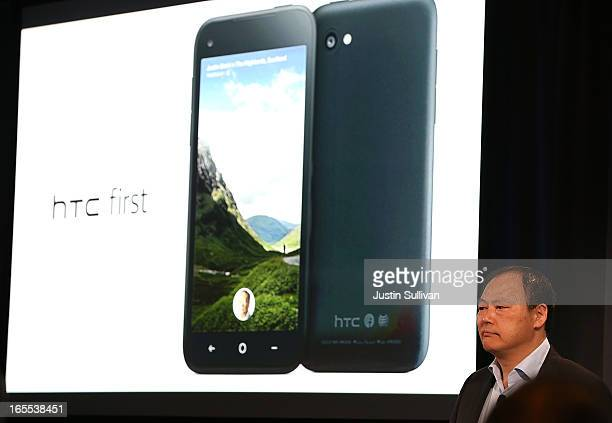 Peter Chou presents the new HTC First phone during an event at Facebook headquarters during an event at Facebook headquarters on April 4 2013 in...
