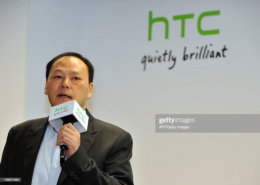 Peter Chou speaks during a press conference on the company's 2013 corporate image advertising in New Taipei City on December 31, 2012. Taiwan's HTC unveiled a new smartphone 'HTC butterfly' boasting a higher resolution display than iPhone5 on the island on December 11, 2012. AFP PHOTO / Mandy CHENG
