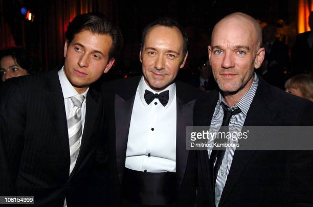 Peter Cincotti Kevin Spacey and Michael Stipe during Beyond The Sea New York Premiere After Party at Waldorf Astoria in New York City New York United...