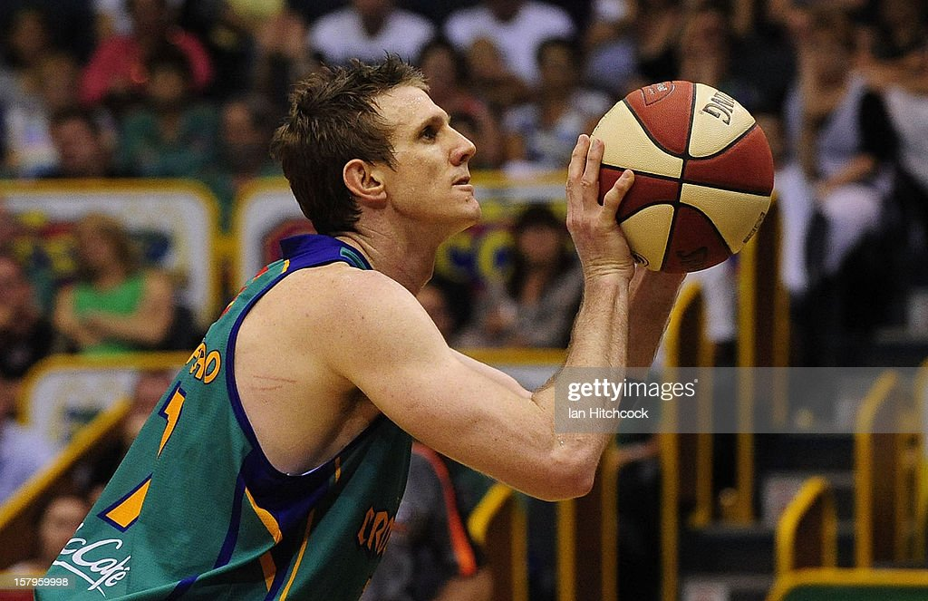 Peter Crawford of the Crocodiles makes a free throw shot during the round ten NBL match between the Townsville Crocodiles and the Melbourne Tigers at Townsville Entertainment Centre on December 8, 2012 in Townsville, Australia.