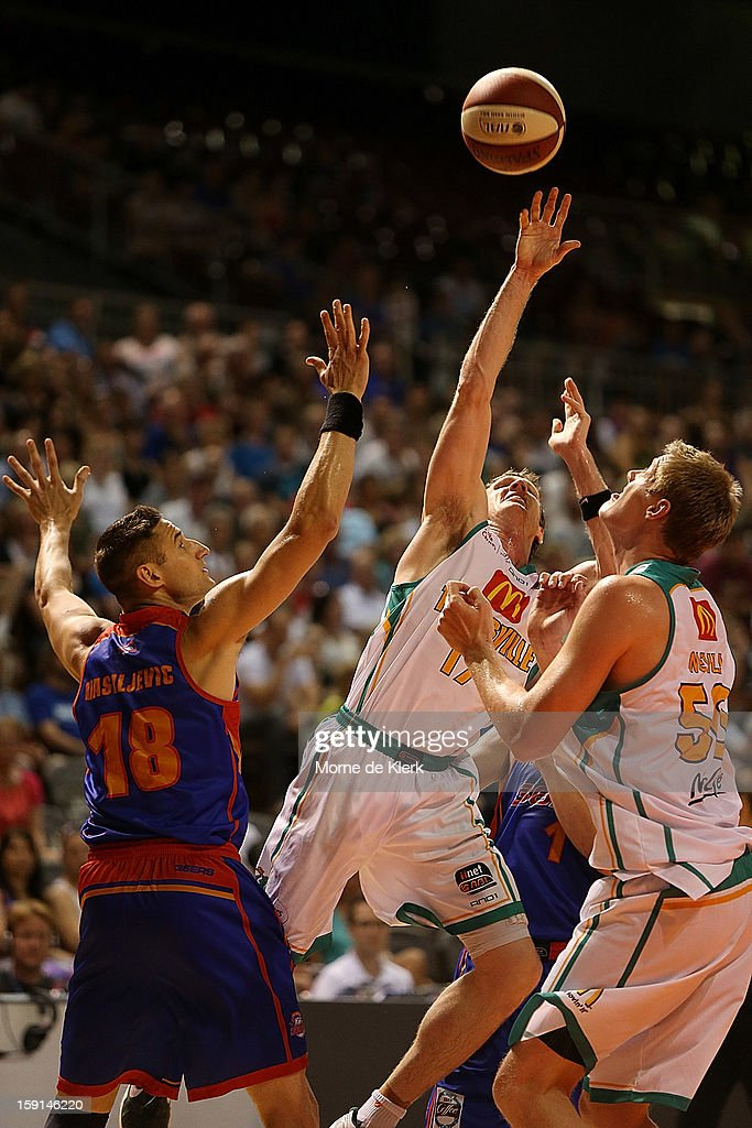 Peter Crawford of Townsville loses the ball during the round 13 NBL match between the Adelaide 36ers and the Townsville Crocodiles at Adelaide Arena on January 4, 2013 in Adelaide, Australia.