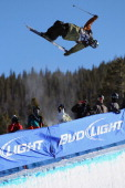 Peter Crook of the British Virgin Islands skis to 12th place in the halfpipe finals of the FIS Freestyle World Cup at the VISA US Freeskiing Grand...