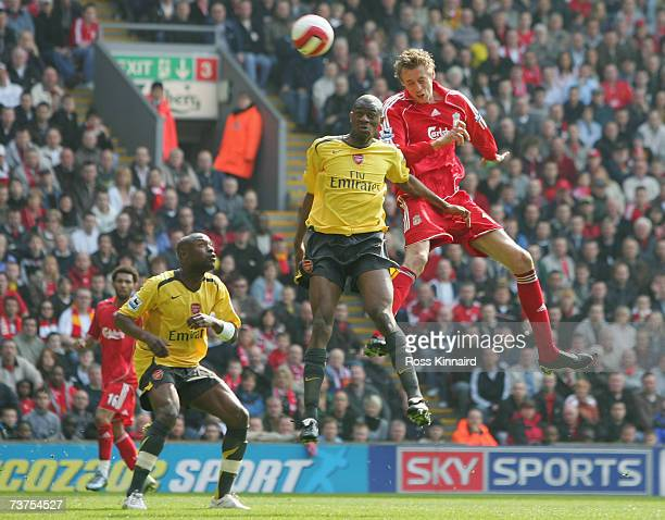 Peter Crouch of Liverpool rises to score his team's second goal during the Barclays Premiership match between Liverpool and Arsenal at Anfield on...