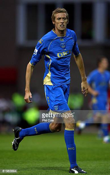 Peter Crouch of Portsmouth during a Preseason Friendly match between Swindon Town and Portsmouth at the County Ground on July 18 2008 in Swindon...