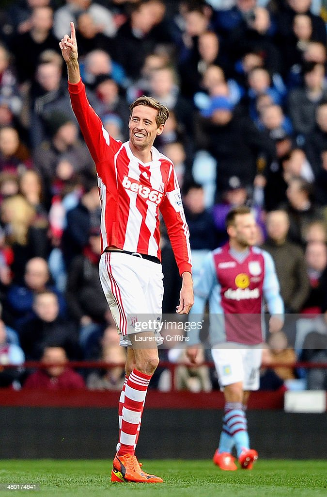 <a gi-track='captionPersonalityLinkClicked' href=/galleries/search?phrase=Peter+Crouch&family=editorial&specificpeople=210764 ng-click='$event.stopPropagation()'>Peter Crouch</a> of Stoke celebrates after scoring his team's second goal during the Barclays Premier League match between Aston Villa and Stoke City at Villa Park on March 23, 2014 in Birmingham, England.