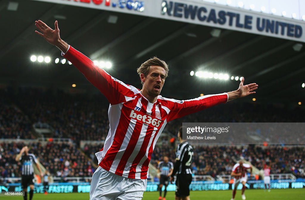 <a gi-track='captionPersonalityLinkClicked' href=/galleries/search?phrase=Peter+Crouch&family=editorial&specificpeople=210764 ng-click='$event.stopPropagation()'>Peter Crouch</a> of Stoke City celebrates as he scores their first and equalising goal during the Barclays Premier League match between Newcastle United and Stoke City at St James' Park on February 8, 2015 in Newcastle upon Tyne, England.