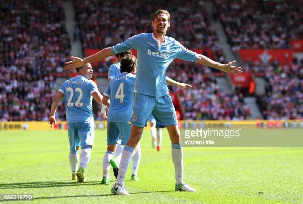 Peter Crouch of Stoke City celebrates scoring his sides first goal during the Premier League match between Southampton and Stoke City at St Mary's...
