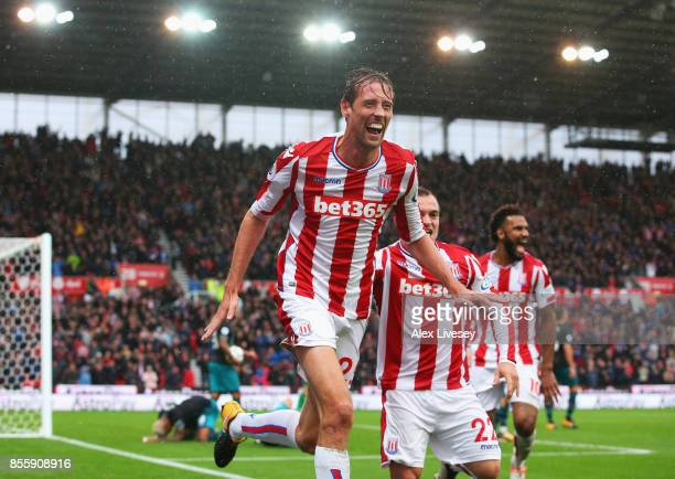 Peter Crouch of Stoke City celebrates scoring his sides second goal during the Premier League match between Stoke City and Southampton at Bet365...
