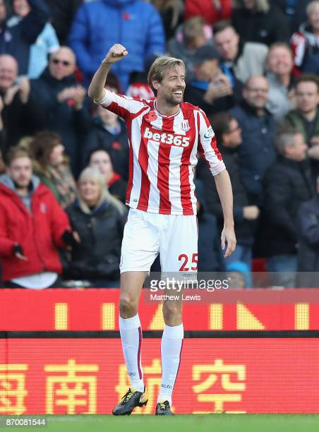 Peter Crouch of Stoke City celebrates scoring his sides second goal during the Premier League match between Stoke City and Leicester City at Bet365...