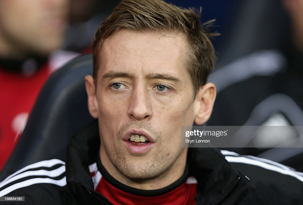 <a gi-track='captionPersonalityLinkClicked' href=/galleries/search?phrase=Peter+Crouch&family=editorial&specificpeople=210764 ng-click='$event.stopPropagation()'>Peter Crouch</a> of Stoke City looks on ahead of the Barclays Premier League match between Tottenham Hotspur and Stoke City at White Hart Lane on December 22, 2012 in London, England.