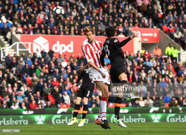 Peter Crouch of Stoke City scores his sides second goal during the Premier League match between Stoke City and Hull City at Bet365 Stadium on April...