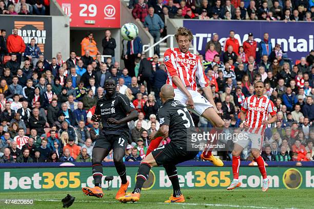 Peter Crouch of Stoke City scores his team's sixth goal during the Barclays Premier League match between Stoke City and Liverpool at Britannia...