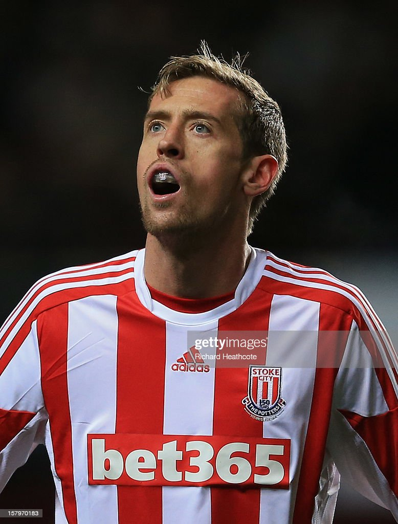Peter Crouch of Stoke wears a mouth guard during the Barclays Premier League match between Aston Villa and Stoke City at Villa Park on December 8, 2012 in Birmingham, England.