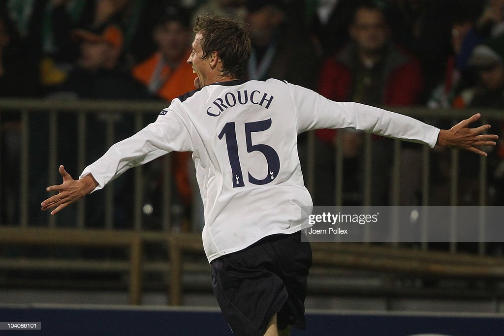 Peter Crouch of Tottenham celebrates after scoring his team's second goal during the UEFA Champions League group A match between SV Werder Bremen and...