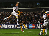 Peter Crouch of Tottenham Hotspur scores their third goal during the UEFA Champions League playoff second leg match between Tottenham Hotspur and BSC...