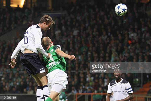 Peter Crouch of Tottenham scores his team's second goal during the UEFA Champions League group A match between SV Werder Bremen and Tottenham Hotspur...