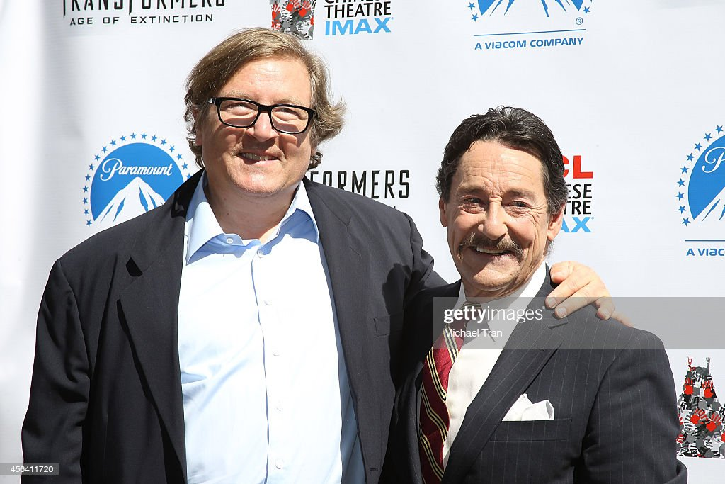 Peter Cullen the voice of Optimus Prime and Lorenzo di Bonaventura attend the Transformer Optimus Prime hand/footprint ceremony held at TCL Chinese...