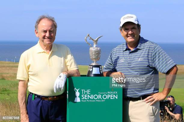 Peter Dawson and David Frost of South Africa during the ProAm ahead of The Senior Tour Open Championship played at Royal Porthcawl Golf Club on July...