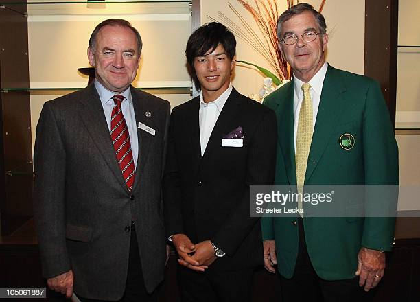 Peter Dawson Ryo Ishikawa of Japan and Billy Payne pose for a picture during the Asia Pacific Golf Confederation Gala Reception at Hikawa Shrine for...