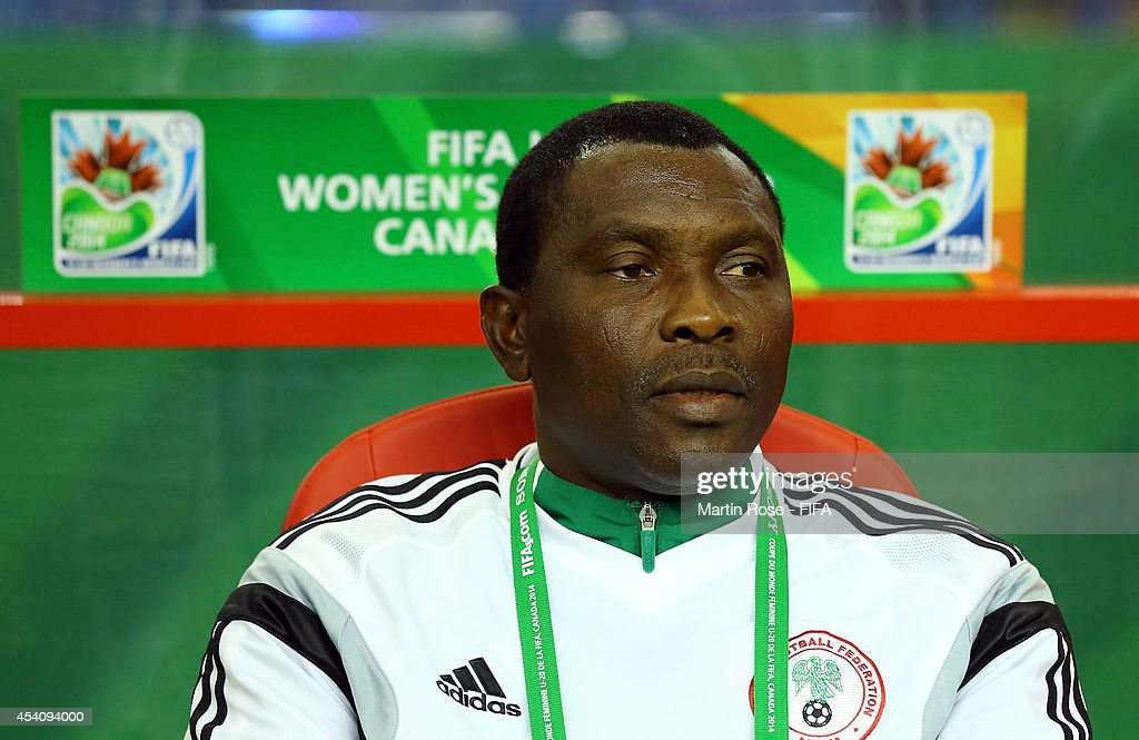 Peter Dedevbo, head coach of Nigeria looks on before the FIFA U-20 Women's World Cup 2014 final match between Nigeria and Germany at Olympic Stadium on August 24, 2014 in Montreal, Canada.