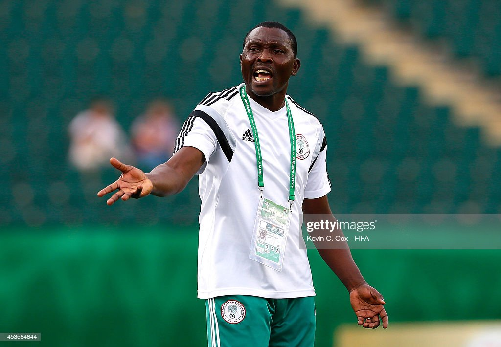 Peter Dedevbo of Nigeria reacts during the FIFA U-20 Women's World Cup Canada 2014 Group C match between Nigeria and England at Commonwealth Stadium on August 13, 2014 in Edmonton, Canada.