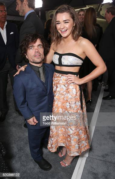 Peter Dinklage and Maisie Williams attend the premiere of HBO's 'Game Of Thrones' Season 6 at TCL Chinese Theatre on April 10 2016 in Hollywood...