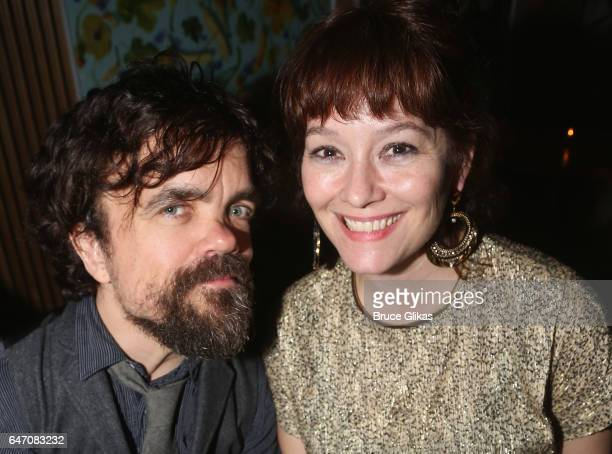 Peter Dinklage and wife Playwright/Director Erica Schmidt pose at the Opening Night for The New Group's new play 'All the Fine Boys' at Green Fig...