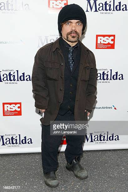 Peter Dinklage attends the 'Matilda The Musical' Broadway Opening Night at Shubert Theatre on April 11 2013 in New York City