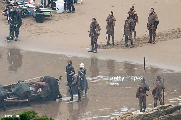 Peter Dinklage Emilia Clarke and Kit Harrington film on the set of 'Game of Thrones' on October 26 2016 in Zumaia Spain