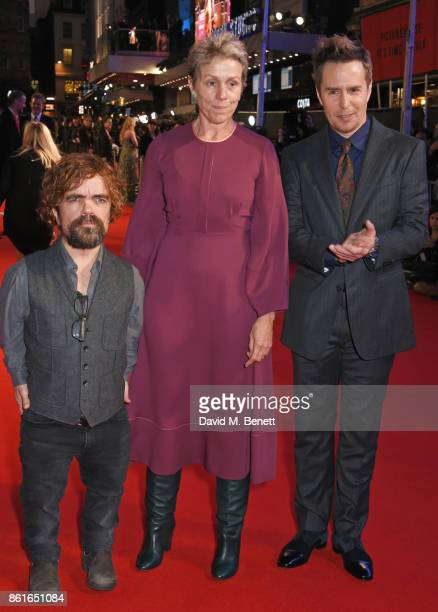 Peter Dinklage Frances McDormand and Sam Rockwell attend the UK Premiere of 'Three Billboards Outside Ebbing Missouri' at the closing night gala of...