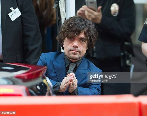 Peter Dinklage is seen greeting fans on April 10 2016 in Los Angeles California