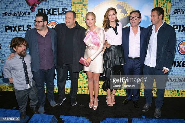 Peter Dinklage Josh Gad Kevin James Ashley Benson Michelle Monaghan Chris Columbus and Adam Sandler attend the 'Pixels' New York Premiere at Regal...