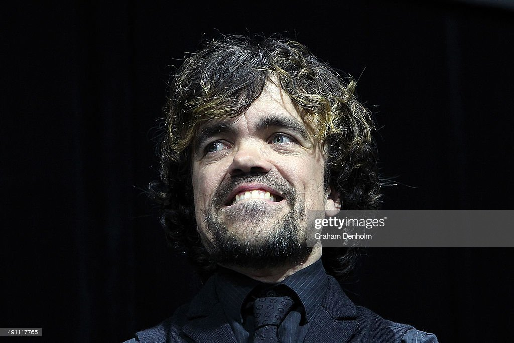 <a gi-track='captionPersonalityLinkClicked' href=/galleries/search?phrase=Peter+Dinklage&family=editorial&specificpeople=215147 ng-click='$event.stopPropagation()'>Peter Dinklage</a>s poses as he arrives at the Australian premiere of 'X-Men: Days of Future Past' on May 16, 2014 in Melbourne, Australia.