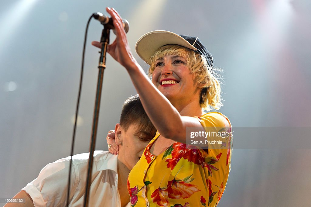 Peter Dreimanis and Leah Fay of July Talk perform at The Isle of Wight Festival as Seaclose Park on June 15 2014 in Newport Isle of Wight