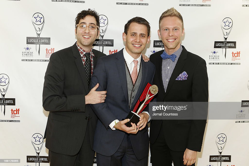 Peter Duchan, Benj Pasek and Justin Paul of 'Dogfight' pose backstage at the 28th Annual Lucille Lortel Awards on May 5, 2013 in New York City.